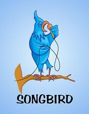 METAL MAGNET Bird Holding Microphone Singing Songbird Birds Humor MAGNET