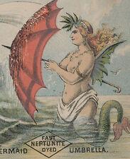LG SEXY MERMAID ~ SPRINGFIELD MA TRADE CARD, FAST NEPTUNITE DYED UMBRELLAS, A242