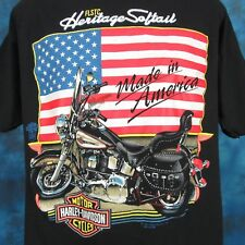 vintage 90s HARLEY DAVIDSON MOTORCYCLE FLSTC AMERICAN FLAG T-Shirt LARGE biker