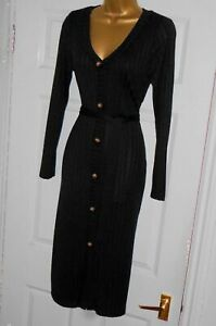 Stretchy black ribbed jumper cardigan cardi wiggle tie dress sz 18 party or day