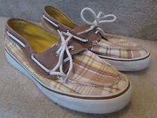 Sperry Top-Sider Womens Biscayne 2 Eye Camel Plaid Deck Shoes Size 8M