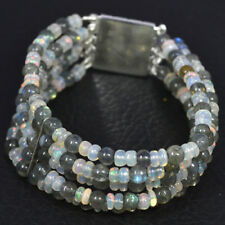 Natural Ethiopian Opal Labradorite Hand Made Ladies Bracelet With Lock 96.80 Cts