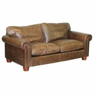 ONE OF TWO STUNNING FISHPOOLS RRP £3099 HERITAGE BROWN LEATHER 2-3 SEAT SOFAS