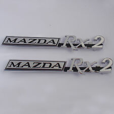 MAZDA RX2 , 2x metal badges chrome, Brand New, for Rotary Rotor 12A 13B Capella