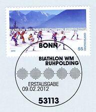 BRD 2012: biathlon-WM en Ruhpolding nº 2912 con bonner sello especial! 1a 157
