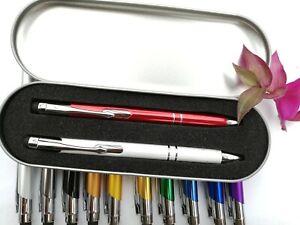 2 x Personalised Stylus Ballpoint Pen + Twin pack Iron box