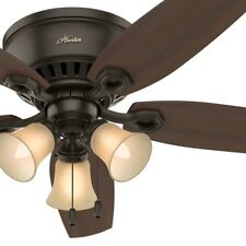 """52"""" Hunter Low Profile Ceiling Fan in New Bronze with Toffee Glass Light Kit"""