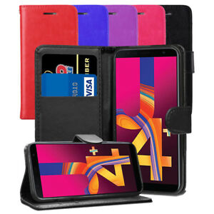 For Samsung Galaxy J4+ Plus SM-J415FN/DS Case - Leather Wallet Flip Cover + Film