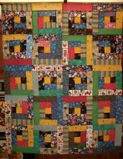 "Scrappy Multi Primary Colors Log Cabin Quilt Top 35"" X 43"""