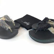 2x Fitflop Slip On Open Toes Cha Cha Tassle Shoes Wedge Heels Sandals EU38 UK5