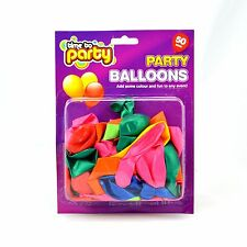 50 x GOOD QUALITY BRIGHT  BALLOONS IN NEON COLOURS   COLOR  FOR BIRTHDAY PARTY