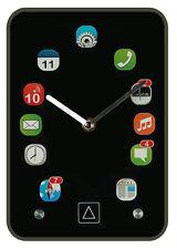 Uhr Tischuhr Handy Apps Icons Smartphone Schreibtisch Büro Glas Schwarz Standuhr