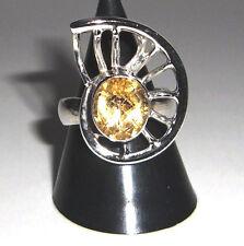 Citrin Ring mit Schliff Einzelstück Gr 55 /17,5mm 925 Sterling Silber massiv Neu