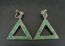 Taxco Earrings Silver Sterling Turquoise Vintage Screw Back 940 Mexico Dangle