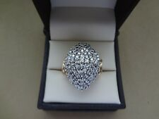 BOLD 10K YELLOW GOLD 1.00 TCW DOMED MARQUISE SHAPE DIAMOND PAVE COCKTAIL RING