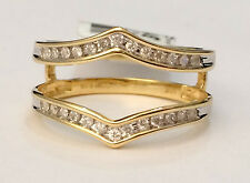Diamonds Ring Guard Wrap Yellow Gold 1/5ct 0.20ct Channel Set Solitaire Enhancer
