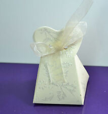 24 GIFT WEDDING Party Favor Box CREAM with ribbon JEWELLERY CANDY Paper HEART