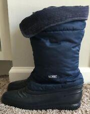 Sorel Nylon Rubber Snow Boots Corduroy Top Blue Womens Size 7