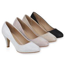Damen Klassische Pumps Stiletto High Heels Glitzer Party 834037 Schuhe