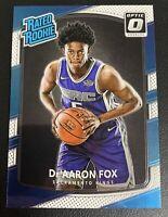 DE'AARON FOX Optic Rated ROOKIE Blue/White RC #196  Sacramento Kings