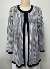 Exclusively Misook Navy White Geo Open Front Cardigan Size XL Double Sided