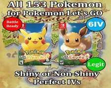 Pokemon Let's Go Pikachu & Eevee - Shiny Full Pokedex - ALL 153 + (6IV/Max/AVs)
