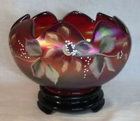Fenton Hand Painted Tuscan Charm Ruby Amberina Stretch Carnival Rose Bowl