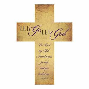 "Let go Let God - 12"" Inspirational Wood Cross - Recovery"