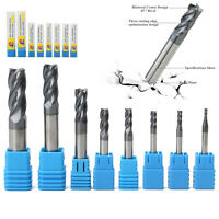 8pcs 2-12mm Carbide End Mill 4 Flutes Set Tungsten Steel Milling Cutter Tool CNC