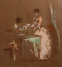 1853 Paul Gavarni Gouache originale lavis d'encre sur papier brun 25,5 x 21 cm
