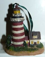 Red White Lighthouse with House Ornament 2 3/4 inches
