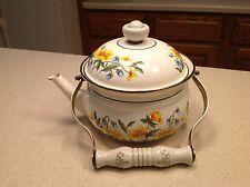 Vintage Enamel Tea Kettle Pot W/ Glass Ceramic Handle Pretty Floral Design!
