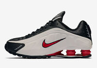 ⚫ 2020 Genuine Nike Shox R4 ® ( Men Sizes UK: 10 & 11 ) Black Platinum Tint Red