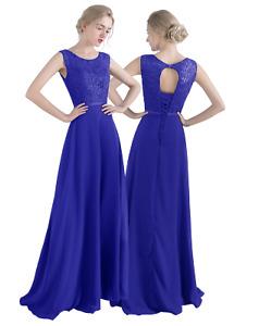 UK  woman  lace Chiffon Floor Length Bridemaid Prom Party Evening Dress