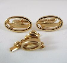 Swank Cufflinks and Lapel Pin / Tie Tack Yacht Goldtone Oval Nautical Sea Ocean