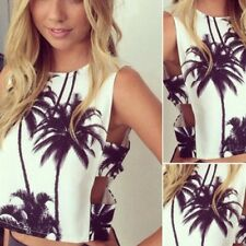 Sexy ladies black white hollow beach new t shirt mini crop vest top 6 - 12 LT10