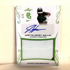 Justyn Henry Malloy Auto 2017 Leaf Perfect Game 2/5 Patch Jersey Autograph VANDY
