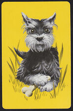 1 Single VINTAGE Swap/Playing Card DOG TERRIER WITH BONE IN GRASS Yellow