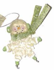 Snowman Resin Body & Glitter - Green Muffs Skates - Hand Painted Ornament NEW!