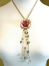 NWT BETSEY JOHNSON 2 STRAND NECKLACE MIXED RHINESTONE FLOWER DANGLE PENDANT