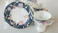 Fine China Tea Coffee Spring Flowers 7oz Set 4 cups 4 Saucer Royal Born New Set