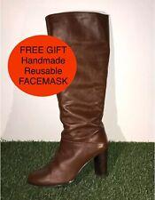 KURT GEIGER Real Leather Brown Tan Knee High Boots UK7 EU40 + FREE FACEMASK
