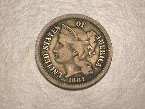 1881 Three Cent Nickel (F/VF & Attractive)
