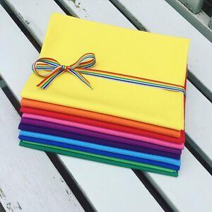 10 x piece rainbow Fat Quarter FQ bundle craft bunting quilting masks