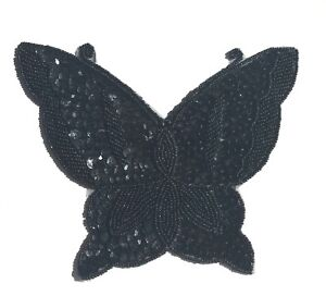 """Black X-Large 6"""" Butterfly Beaded Sequined Sew-On Applique Craft Patch Vintage"""