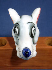 Vintage Dog Puppy Porcelain Ceramic Figural Liquor Wine Bottle Stopper Pourer