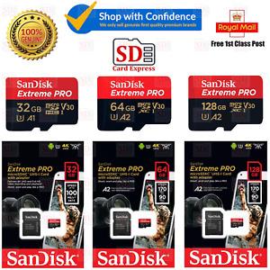 SanDisk Extreme Pro 32GB 64GB 128GB 256GB U3 V30 Micro SD Memory Card + Adapter