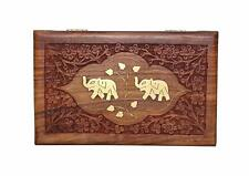 Wooden Hand Carved Wooden Elephant Brass Inlay & Velvet Interior