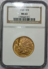 1926 $10 INDIAN HEAD GOLD EAGLE COIN CERTIFIED PCGS MS 63 - NICE!