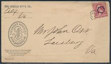 "#220 FINE ON ""THE SINGER MFG Co. N.Y."" COVER TO LEESBURG, VA W/ FANCY CNL BT9245"
